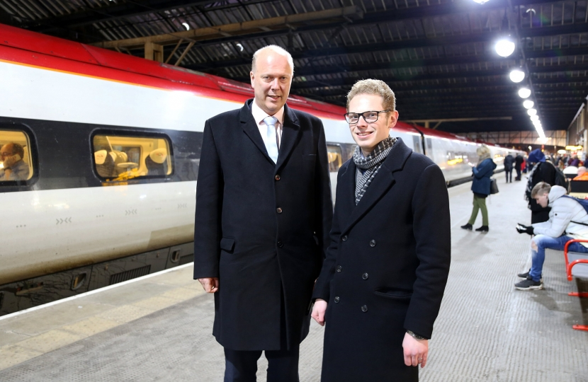 Jack Brereton and Chris Grayling at Stoke Station