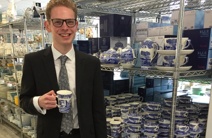 Jack Brereton with ceramics products