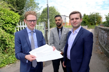 Jack Brereton with local councillors Faisal Hussain and Daniel Jellyman